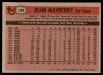 1981 Topps #169  John Mayberry  Back Thumbnail