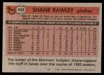 1981 Topps #423  Shane Rawley  Back Thumbnail