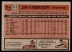 1981 Topps #613  Jim Anderson  Back Thumbnail