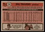 1981 Topps #704  Bill Travers  Back Thumbnail