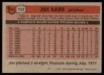 1981 Topps #717  Jim Barr  Back Thumbnail