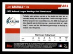 2006 Topps #254   -  Luis Castillo Golden Glove Award Back Thumbnail