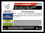 2006 Topps #322   -  Marshall McDougall Rookie Card Back Thumbnail