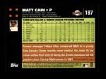 2007 Topps #187  Matt Cain  Back Thumbnail