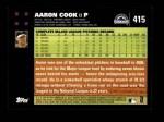 2007 Topps #415  Aaron Cook  Back Thumbnail