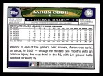 2008 Topps #34  Aaron Cook  Back Thumbnail