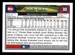 2008 Topps #33  Joe Mauer  Back Thumbnail