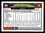 2008 Topps #73  Mike Napoli  Back Thumbnail