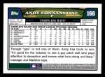 2008 Topps #166  Andy Sonnanstine  Back Thumbnail
