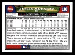 2008 Topps #110  Justin Morneau  Back Thumbnail
