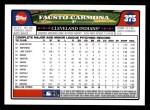 2008 Topps #375  Fausto Carmona  Back Thumbnail