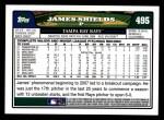 2008 Topps #495  James Shields  Back Thumbnail
