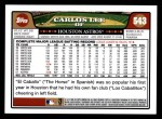 2008 Topps #543  Carlos Lee  Back Thumbnail