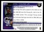 2010 Topps #51  Eric Young Jr  Back Thumbnail
