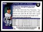 2010 Topps #49  Jorge De La Rosa  Back Thumbnail