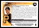 2010 Topps #194  Neill Walker  Back Thumbnail
