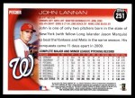 2010 Topps #251  John Lannan  Back Thumbnail