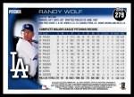 2010 Topps #279  Randy Wolf  Back Thumbnail