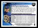 2010 Topps #371  Nick Hundley  Back Thumbnail