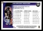 2010 Topps #329   Rockies History Back Thumbnail