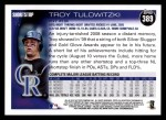 2010 Topps #389  Troy Tulowitzki  Back Thumbnail