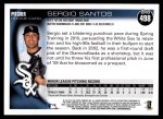 2010 Topps #498  Sergio Santos  Back Thumbnail