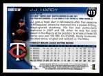 2010 Topps #413  J.J. Hardy  Back Thumbnail