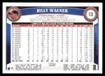 2011 Topps #13  Billy Wagner  Back Thumbnail