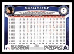 2011 Topps #7  Mickey Mantle  Back Thumbnail