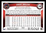 2011 Topps #199  Jimmy Rollins  Back Thumbnail