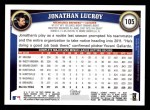 2011 Topps #105  Jonathan Lucroy  Back Thumbnail
