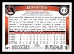 2011 Topps #210  Brian Wilson  Back Thumbnail