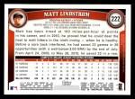 2011 Topps #222  Matt Lindstrom  Back Thumbnail
