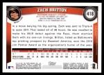2011 Topps #418  Zach Britton  Back Thumbnail