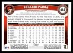 2011 Topps #484  Gerardo Parra  Back Thumbnail