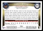 2011 Topps #412  Samuel Deduno  Back Thumbnail