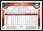 2011 Topps #443  Brian Roberts  Back Thumbnail