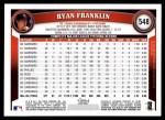 2011 Topps #548  Ryan Franklin  Back Thumbnail