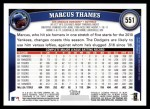 2011 Topps #551  Marcus Thames  Back Thumbnail