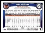 2011 Topps #579  Jeff Niemann  Back Thumbnail