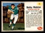 1962 Post #43  Bobby Walston  Front Thumbnail