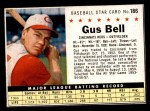 1961 Post #186 BOX Gus Bell   Front Thumbnail