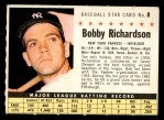 1961 Post #8 COM Bobby Richardson  Front Thumbnail
