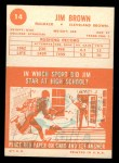 1963 Topps #14  Jim Brown  Back Thumbnail