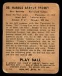 1940 Play Ball #50  Hal Trosky  Back Thumbnail