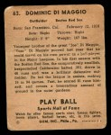 1941 Play Ball #63  Dom DiMaggio  Back Thumbnail