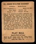 1941 Play Ball #50  John Cooney  Back Thumbnail