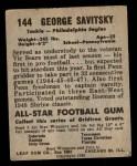 1949 Leaf #144  George Savitsky  Back Thumbnail