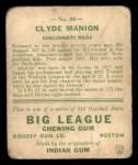 1933 Goudey #80  Clyde Manion  Back Thumbnail