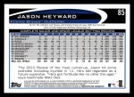 2012 Topps #85  Jason Heyward  Back Thumbnail